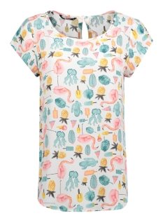 Only T-shirt onlNOVA AOP LUX S/S TOP  WVN 15139657 Snow White