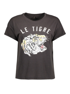 Only T-shirt onlDIXIE S/S WINGS/TIGER TOP BOX ES 15138406 Phantom/Tiger