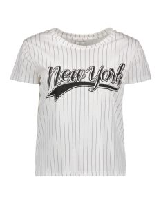 Jacqueline de Yong T-shirt JDYCOLLEGE S/S PRINT STRIPE TOP JR 15147292 Cloud Dancer/New York