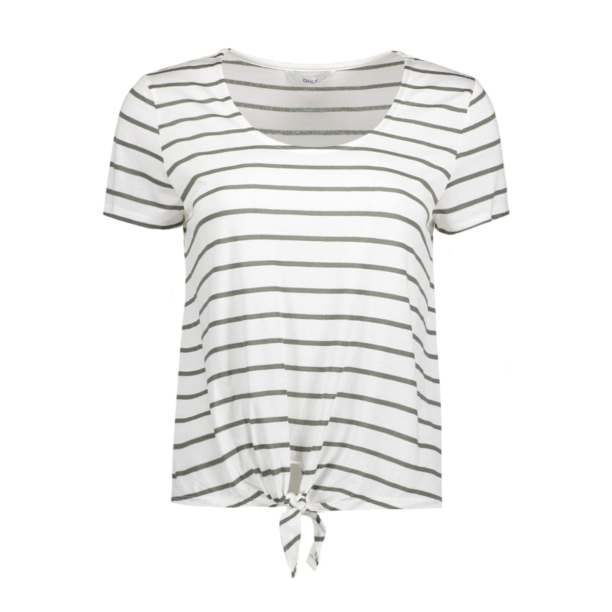 onlthai stripe s/s knot top box jrs 15130781 only t-shirt cloud dancer/agave green