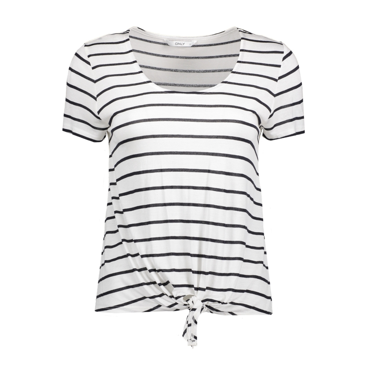 onlthai stripe s/s knot top box jrs 15130781 only t-shirt cloud dancer/dark navy