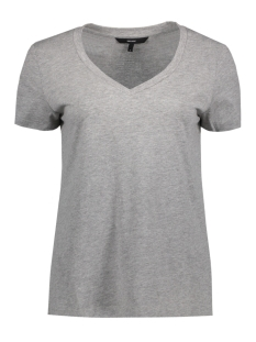VMSPICY V-NECK SS TOP NOOS 10183688 Light Grey Melange