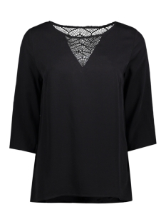 Vila T-shirt VISOMMI 3/4 SLEEVE LACE TOP-NOOS 14042587 Black