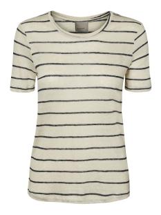 Vero Moda T-shirt VMREZA S/S LINEN TOP A 10171543 Oatmeal/Navy Blazer