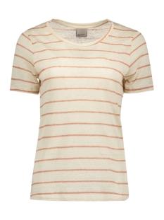 Vero Moda T-shirt VMREZA S/S LINEN TOP A 10171543 Oatmeal/Cedar Wood