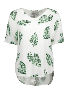 Vero Moda T-shirt VMNOW SS MIDI TOP A 10175009 Snow White/Greenpalma