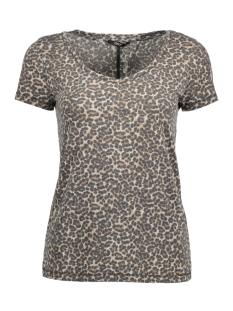 Only T-shirt onlTRULY S/S LEO V-NECK TOP ESS 15142823 Pumice Stone/LEO
