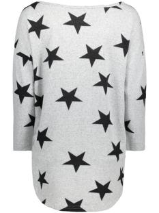 onlelcos 4/5 aop top jrs noos 15144286 only t-shirt light grey melange/w. black a st