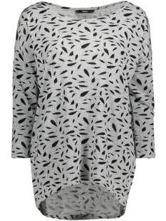 Only T-shirt onlELCOS 4/5 AOP TOP JRS NOOS 15144286 Light Grey Mela/W. Black F