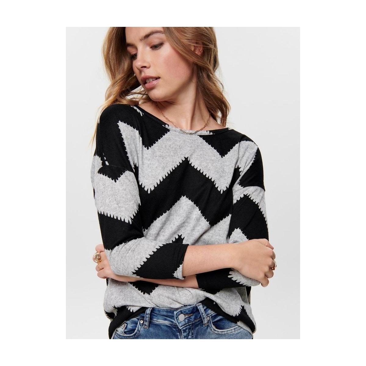 onlelcos 4/5 aop top jrs noos 15144286 only t-shirt light grey mela/w. black z