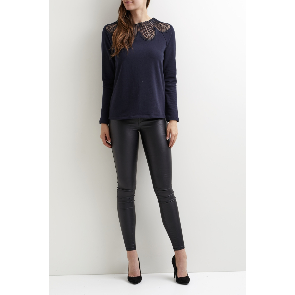 vimista l/s neck lace top/dc 14043175 vila sweater dark navy