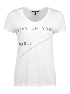 Vero Moda T-shirt VMANNIKA S/S V-NECK TOP BOX JRS 10186104 Snow White