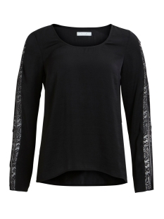 Vila T-shirt VILACELINE L/S LACE TOP /DU 14042574 Black