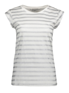 Only T-shirt onlBONE GLITTER SS TOP JRS 15146657 Cloud Dancer/ Silver Stripe