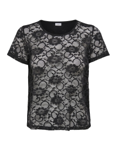 Jacqueline de Yong T-shirt JDYGREEN  S/S LACE TOP JRS 15141461 Black