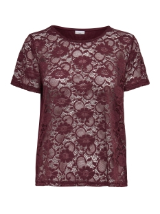 Jacqueline de Yong T-shirt JDYGREEN  S/S LACE TOP JRS 15141461 Vineyard Wine