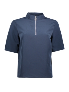 Jacqueline de Yong T-shirt JDYKIRA 2/4 ZIP TOP WVN 15140312 Black Iris