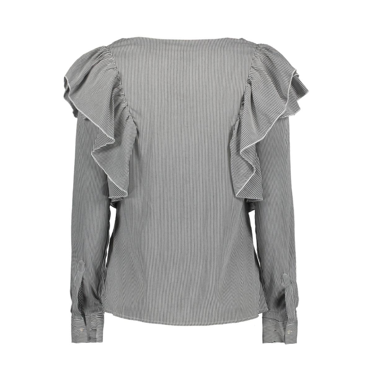 vmerika flounce l/s top sb8 10193604 vero moda blouse snow white/ black