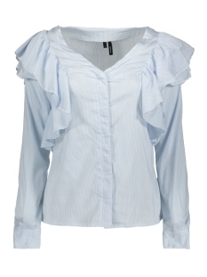 Vero Moda Blouse VMERIKA FLOUNCE L/S TOP SB8 10193604 Snow White/ Chambray