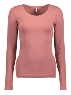 Only T-shirt onlLIVE LOVE NEW LS O-NECK TOP NOOS 15140196 Withered Rose