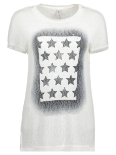 Only T-shirt onlRILEY S/S STARS/FLAG TOP BOX ESS 15142759 Cloud Dancer/Stars