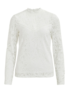 vistasia l/s lace top-noos 14041864 vila blouse cloud dancer