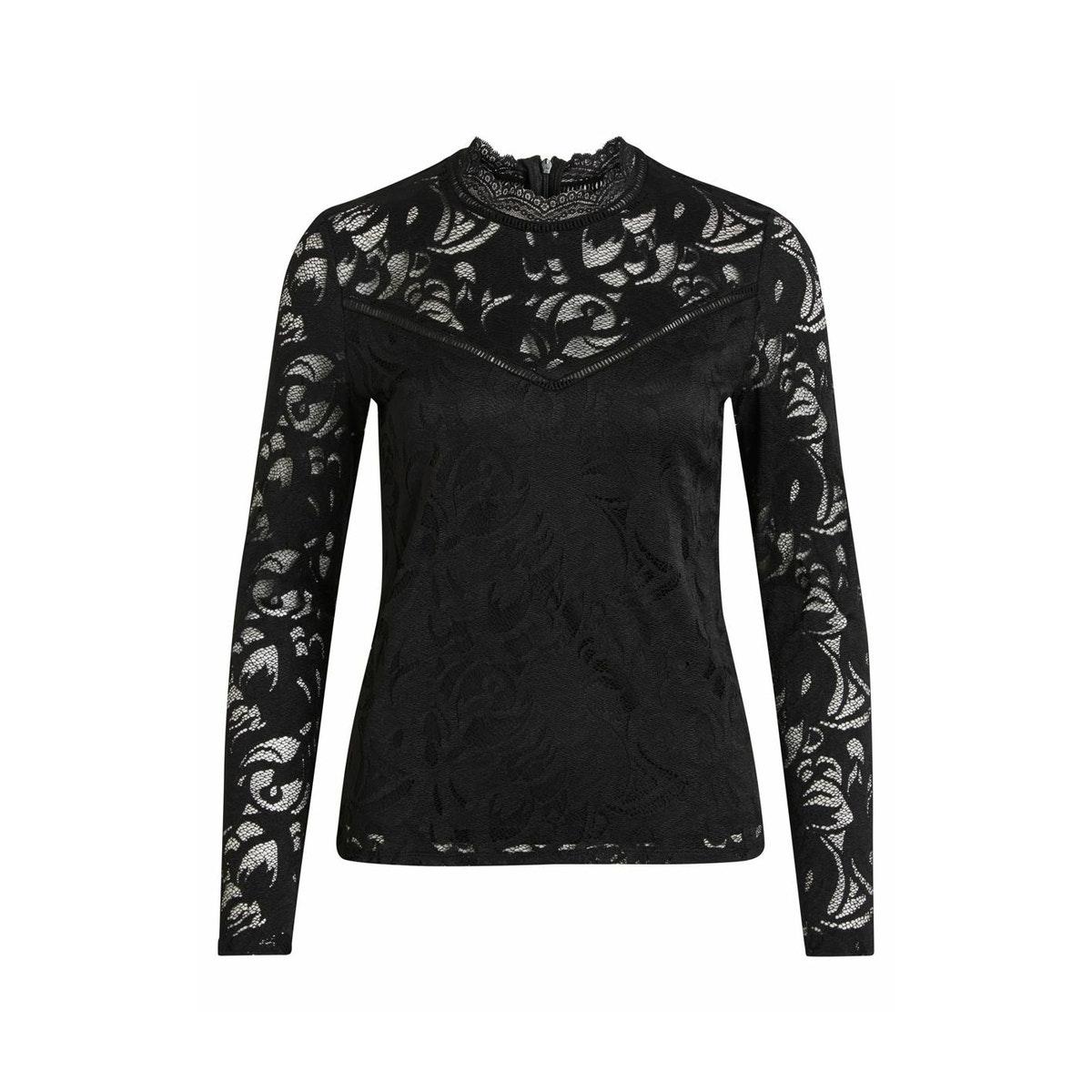 vistasia l/s lace top-noos 14041864 vila blouse black