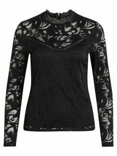 vistasia l/s lace top-noos 14041864 vila blouse black