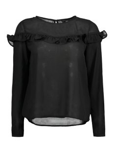 Only Blouse onlELENA L/S RUFFLE TOP NOOS WVN 15145426 Black
