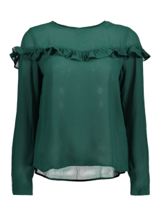 Only Blouse onlELENA L/S RUFFLE TOP NOOS WVN 15145426 Rain Forest