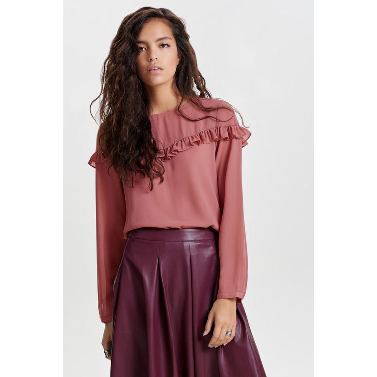 onlelena l/s ruffle top noos wvn 15145426 only blouse withered rose