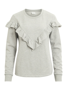 Vila Sweater VIMISTA L/S FLOUNCE SWEAT TOP 14043176 Light Grey Melange