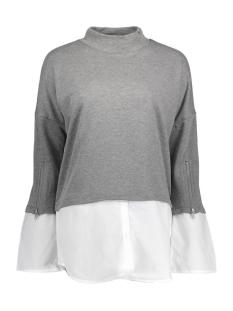 Noisy may Trui NMSAGA L/S MIXED SWEAT SHIRT 6 10185418 Medium Grey Melange/Bright White