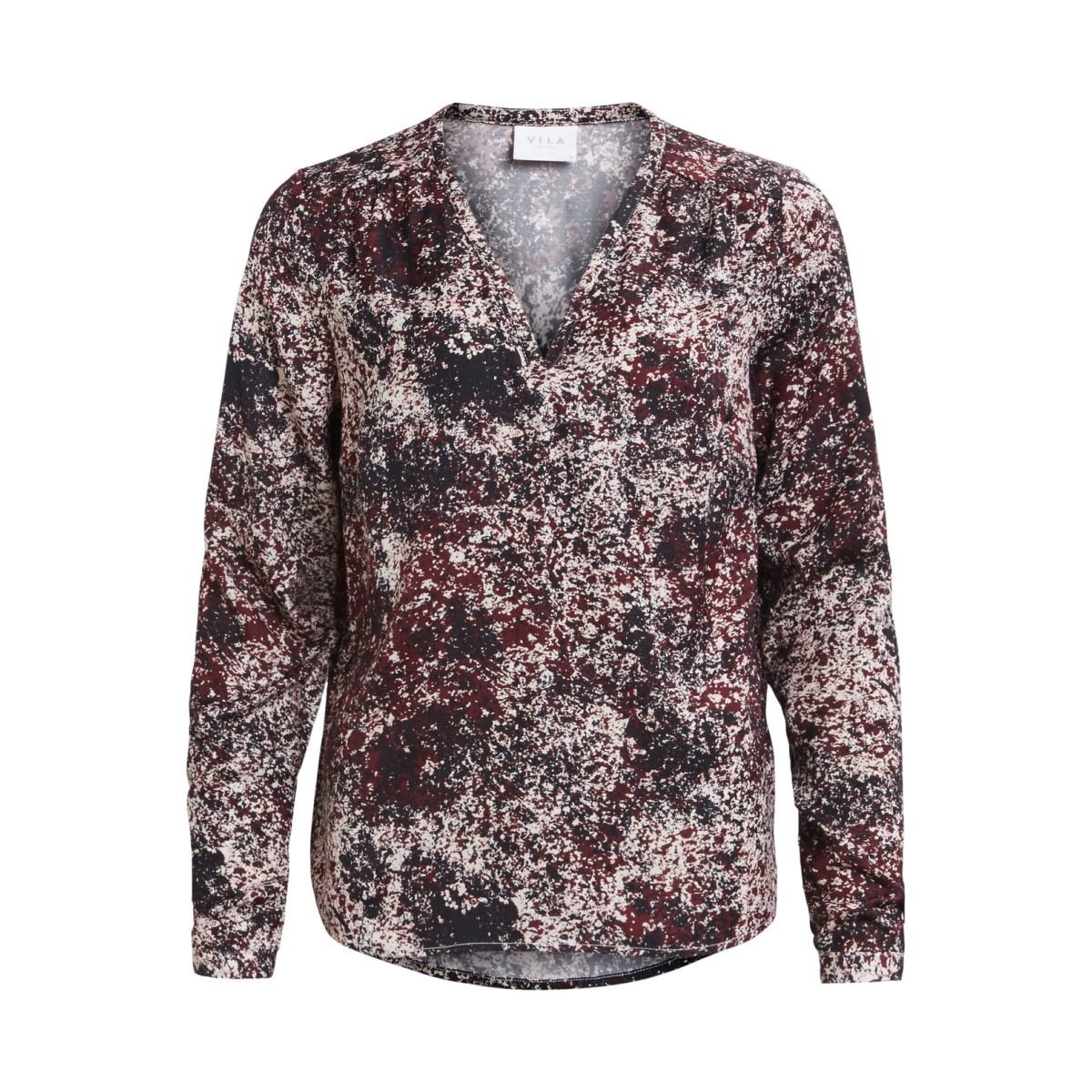 vicava l/s v-neck top-fav 14043501 vila blouse cabernet/vispotties