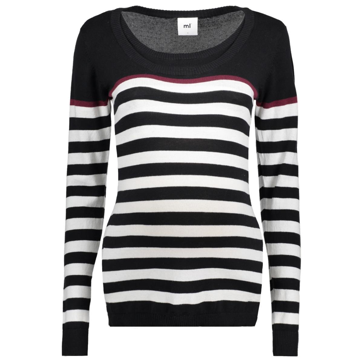 mlanic nell l/s knit blouse nf 20007566 mama-licious positie trui black/snow white