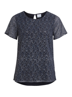 Vila T-shirt VIBELLO S/S TOP/P 14043652 Dark Navy/VIBELLO PR