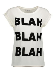 Only T-shirt onlVELVET DETAILED S/S TOP JRS BOX 15142633 Cloud Dancer/ Blah Blah