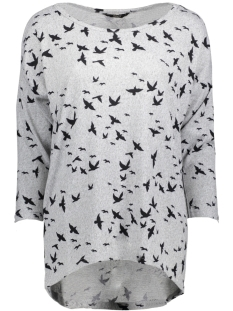 Only Trui onlELCOS 4/5 BIRDS TOP JRS 15150649 Light Grey Melange/Black Bird