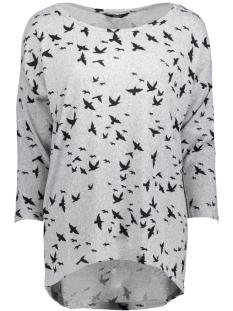 Only Trui onlELCOS 4/5 BIRDS TOP JRS 15150649 Light Grey Melange/Black Bird