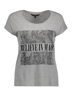 Vero Moda T-shirt VMNORA CAMPUS S/S TOP BOX JRS 10186209 Light Grey Mela/Believe in