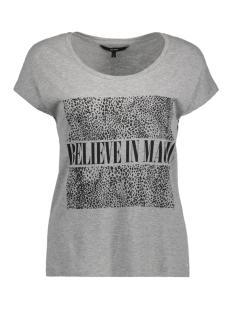 Vero Moda T-shirt VMNORA CAMPUS S/S TOP BOX JRS 10186209 Light Grey Mela/Believe in