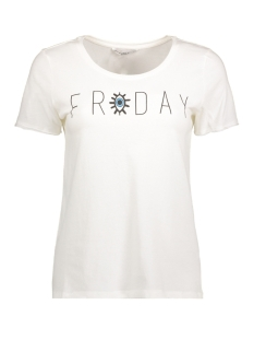 Only T-shirt onlHAPPY ELLA S/S TEE JRS 15148296 Cloud Dancer/ Friday