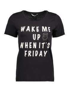 Only T-shirt onlHAPPY ELLA S/S TEE JRS 15148296 Black/ Wake Me Up