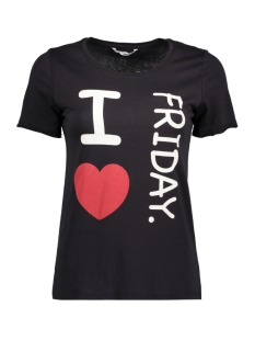 Only T-shirt onlHAPPY ELLA S/S TEE JRS 15148296 Black/ I Heart Friday