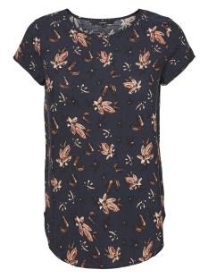 vmmixy foil s/s top exp 10198663 vero moda t-shirt navy blazer/ flowers