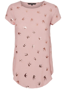 Vero Moda T-shirt VMMIXY FOIL S/S TOP EXP 10198663 Cameo Rose/ Bird Gold