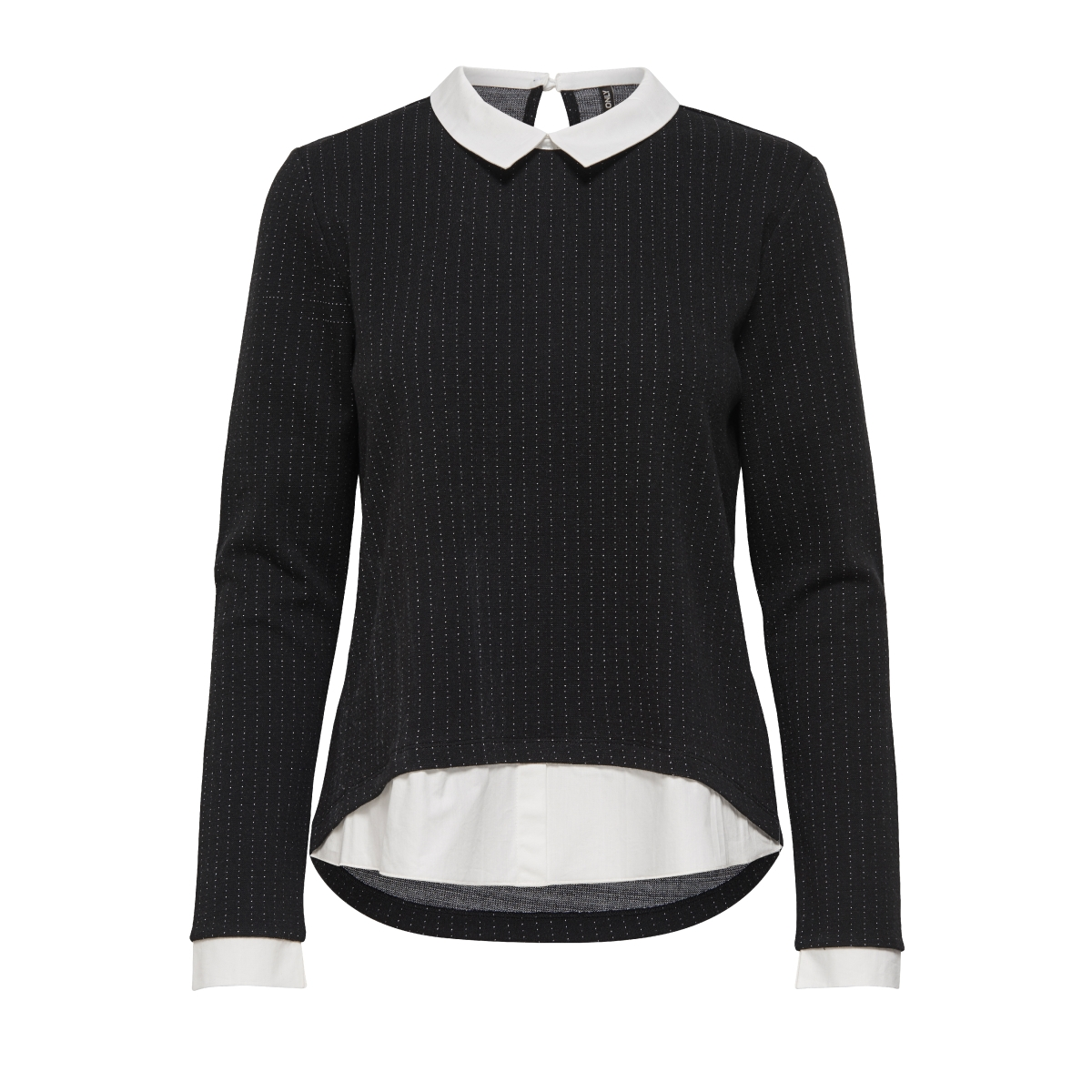 onldotted l/s collar top ess 15145157 only blouse black/cloud danc
