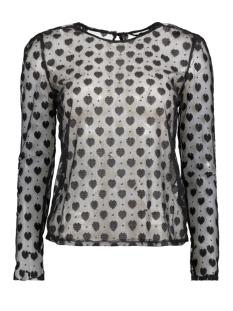 Only T-shirt onlFAITH L/S HEART TOP WVN 15143615 black/heart