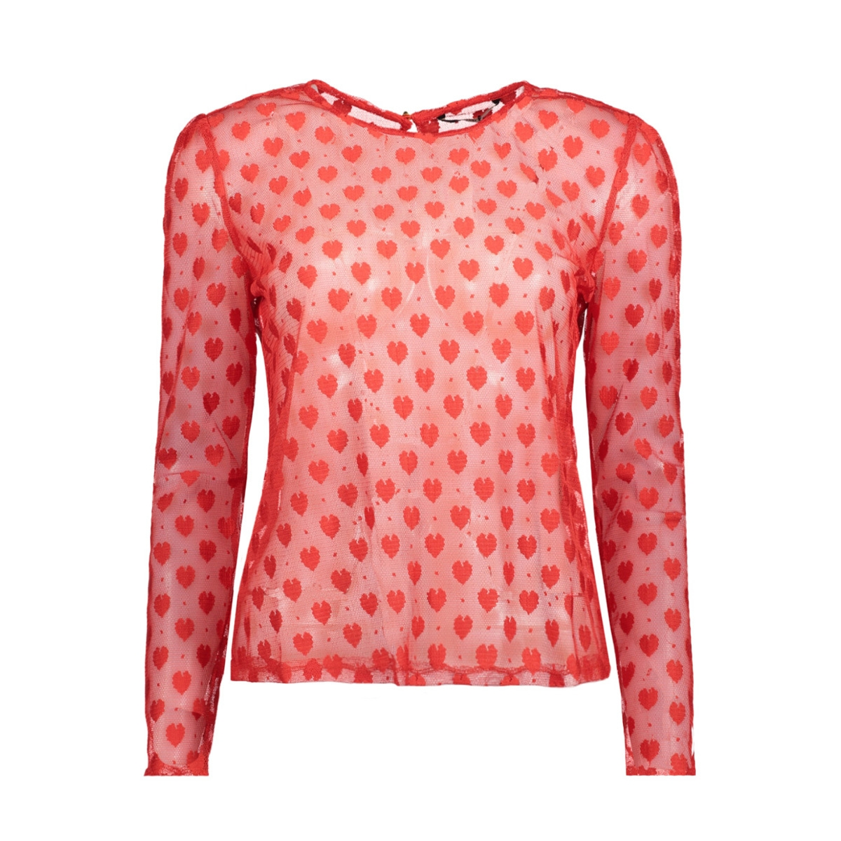 onlfaith l/s heart top wvn 15143615 only t-shirt flame scarlet/heart