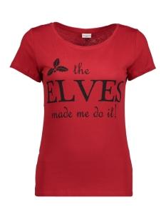 jdychicago s/s xmas print top jrs 15139962 jacqueline de yong t-shirt scarlet sage/elves